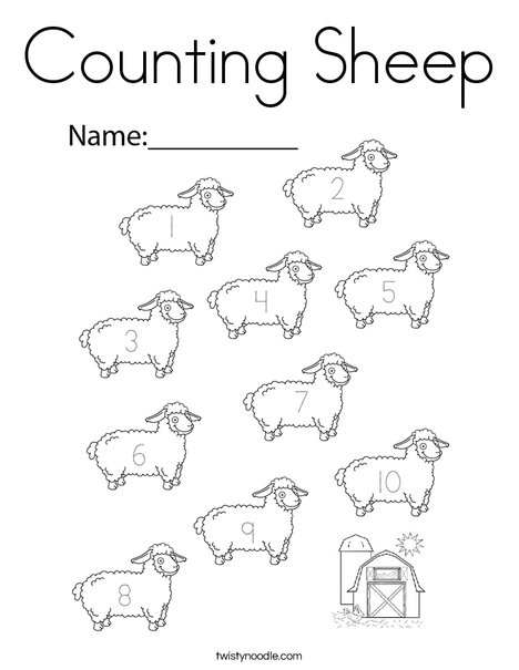 Counting Sheep Coloring Page - Twisty Noodle