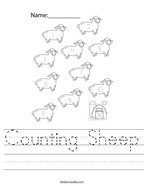 Counting Sheep Handwriting Sheet