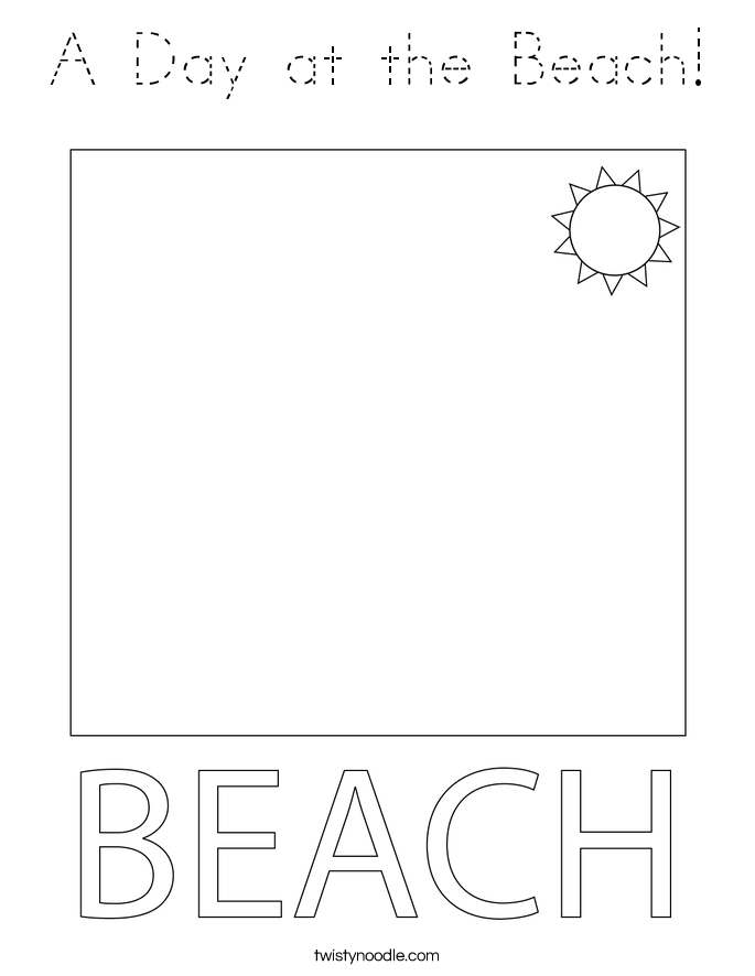 A Day at the Beach! Coloring Page