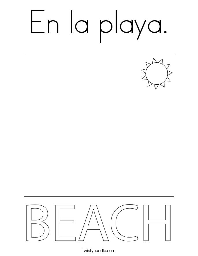 En la playa. Coloring Page
