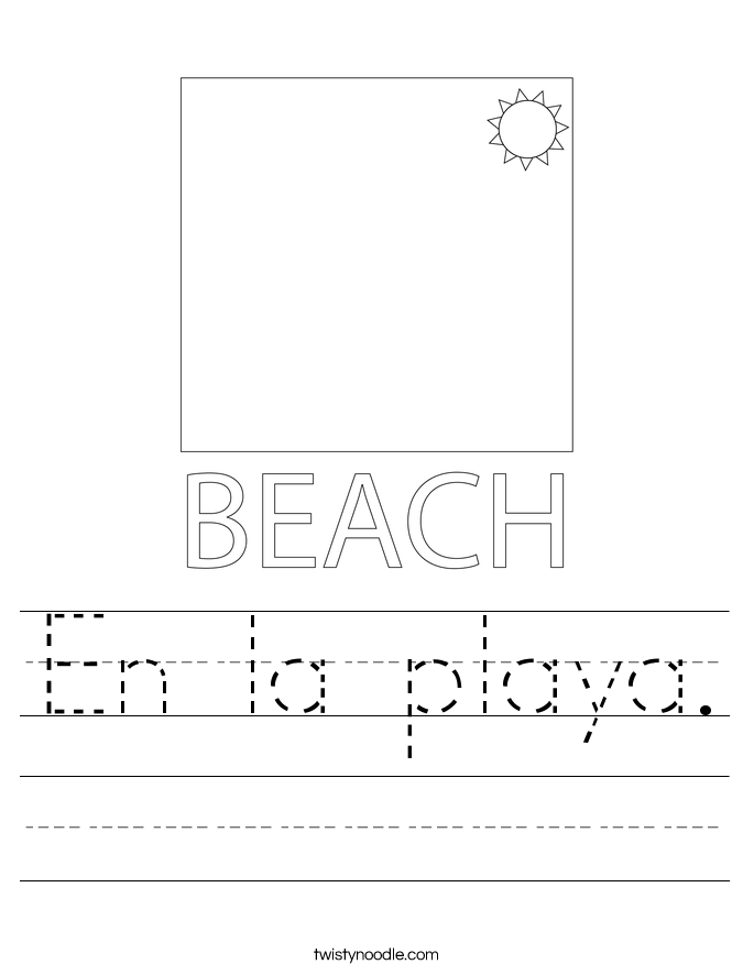 En la playa. Worksheet