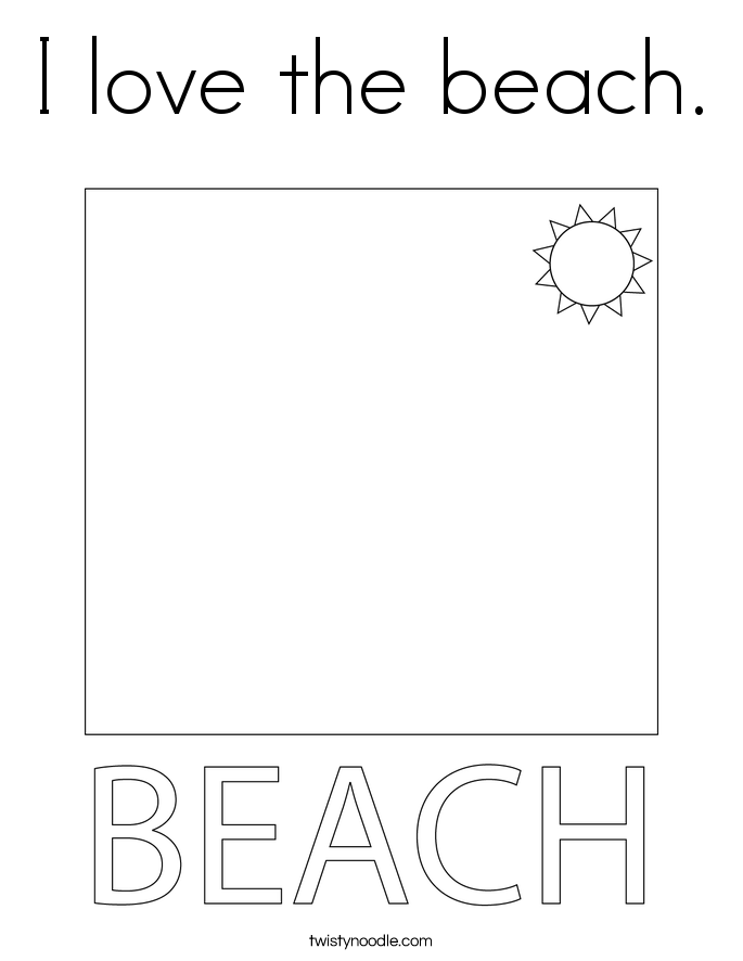 I love the beach. Coloring Page