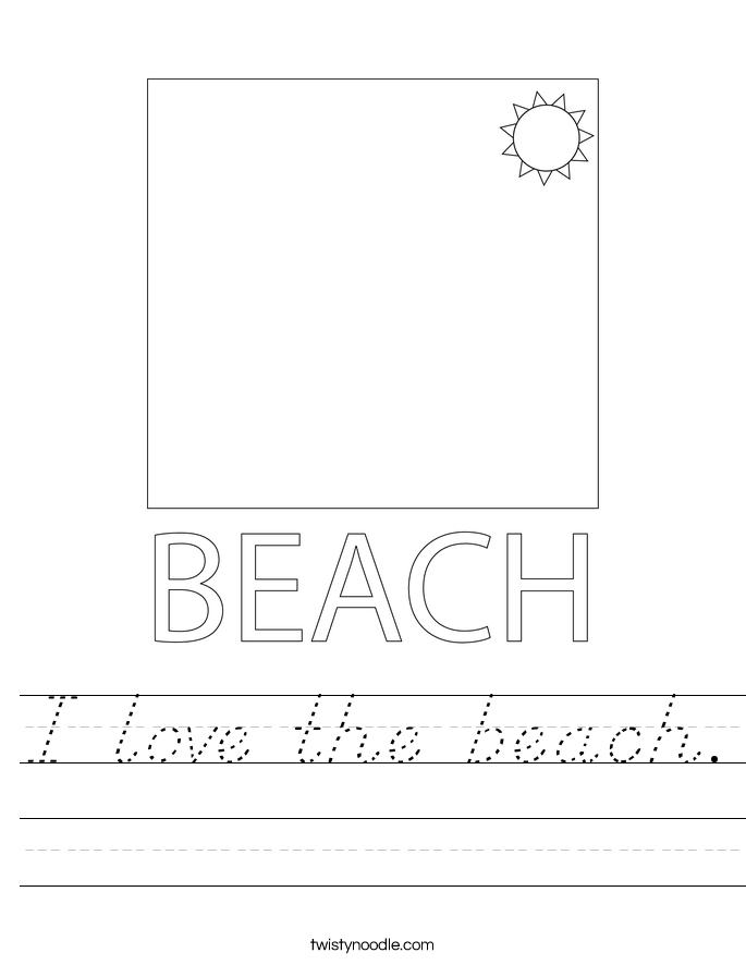 I love the beach. Worksheet