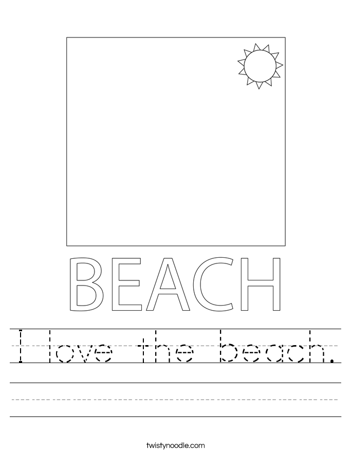 I love the beach. Worksheet