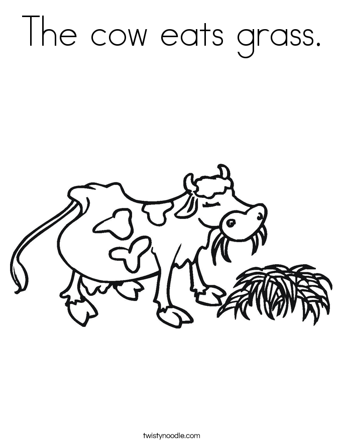 The cow eats grass. Coloring Page