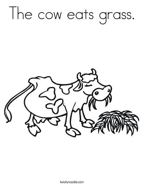 The Cow Eats Grass Coloring Page Twisty Noodle