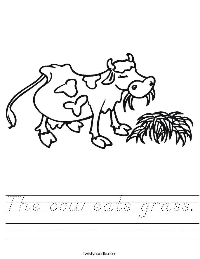 The cow eats grass. Worksheet