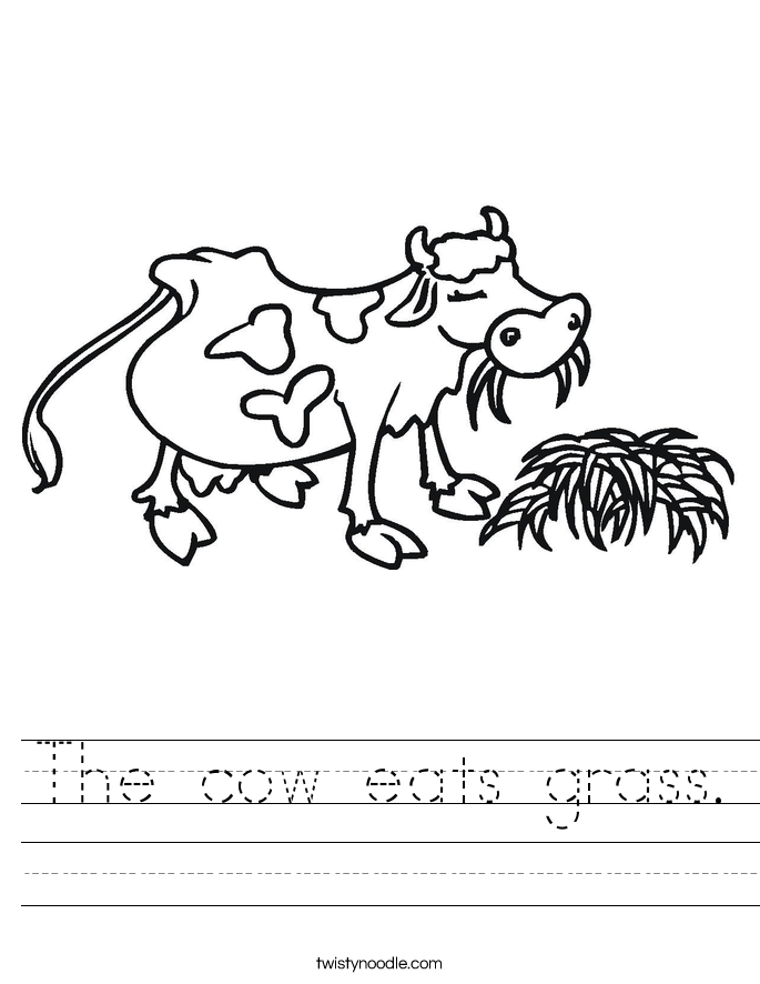 The cow eats grass. Worksheet