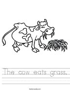 The cow eats grass Handwriting Sheet