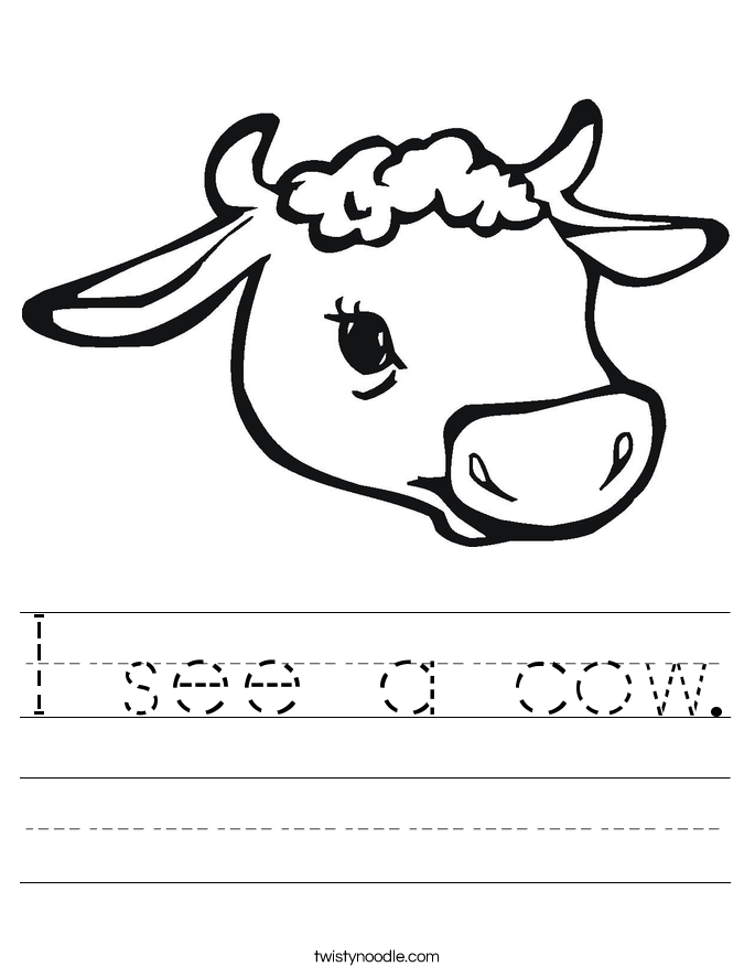 I see a cow. Worksheet