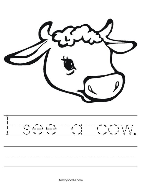 Cow Head with Horns Worksheet