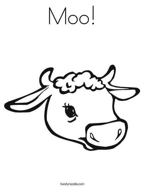 Cow Head with Horns Coloring Page