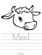 Moo Handwriting Sheet