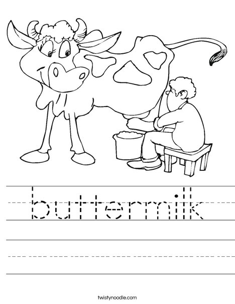 Cow being Milked Worksheet