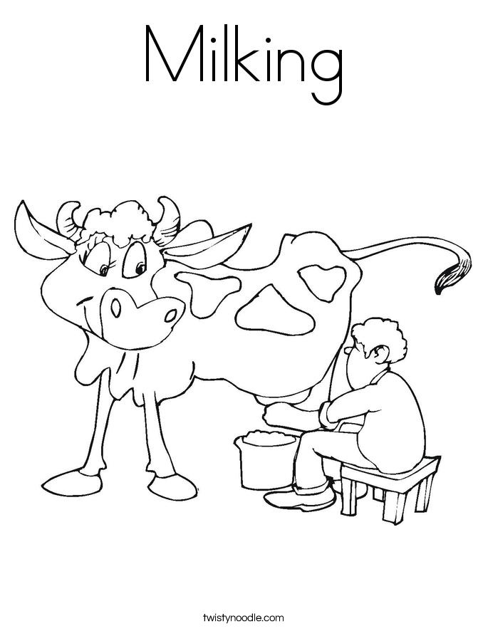 Milking Coloring Page Twisty Noodle