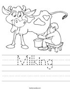 Milking Handwriting Sheet