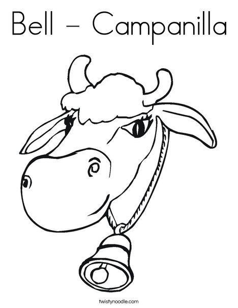 Cow with Bell Coloring Page