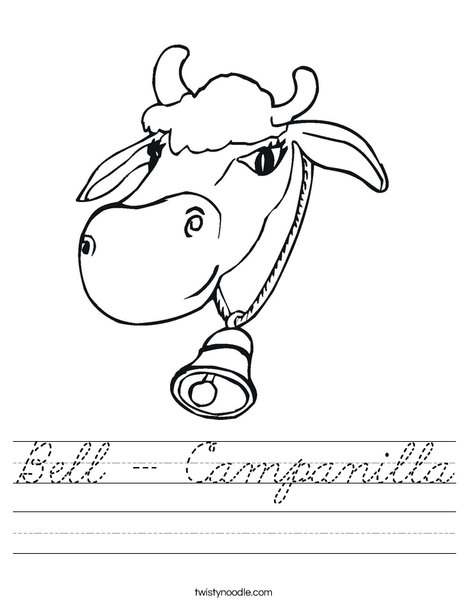 Cow with Bell Worksheet