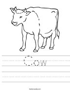 Cow Handwriting Sheet