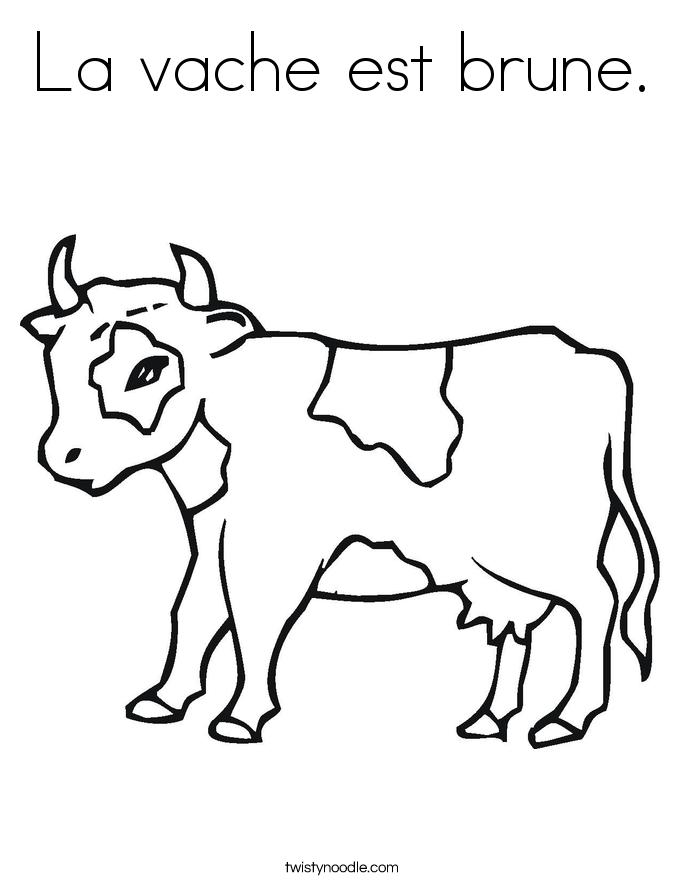 La vache est brune. Coloring Page
