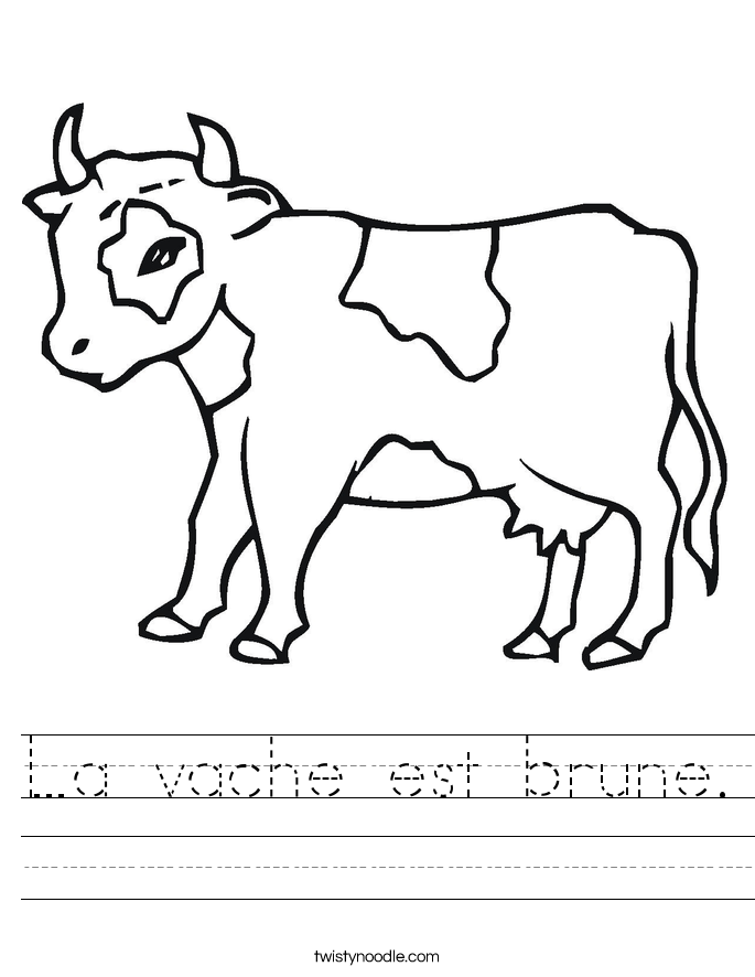 La vache est brune. Worksheet