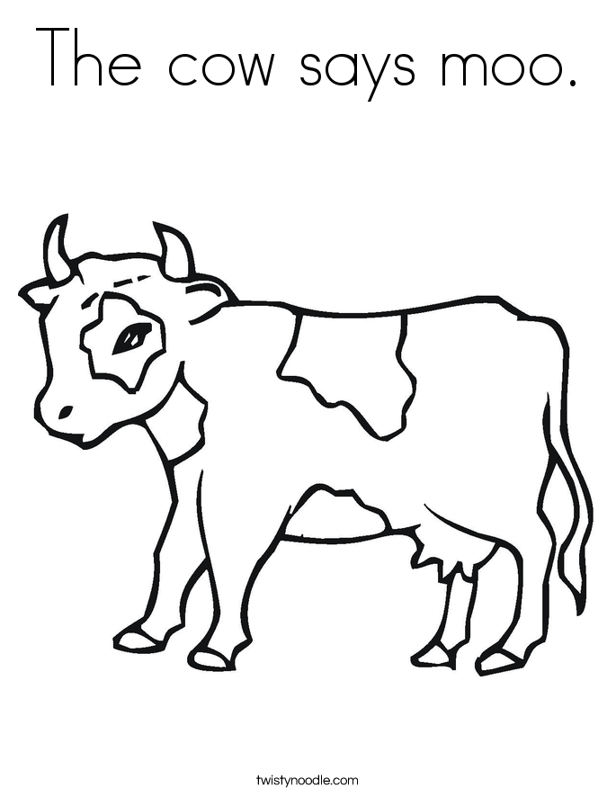 The cow says moo. Coloring Page