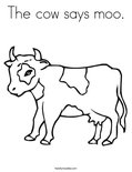 The cow says moo.Coloring Page