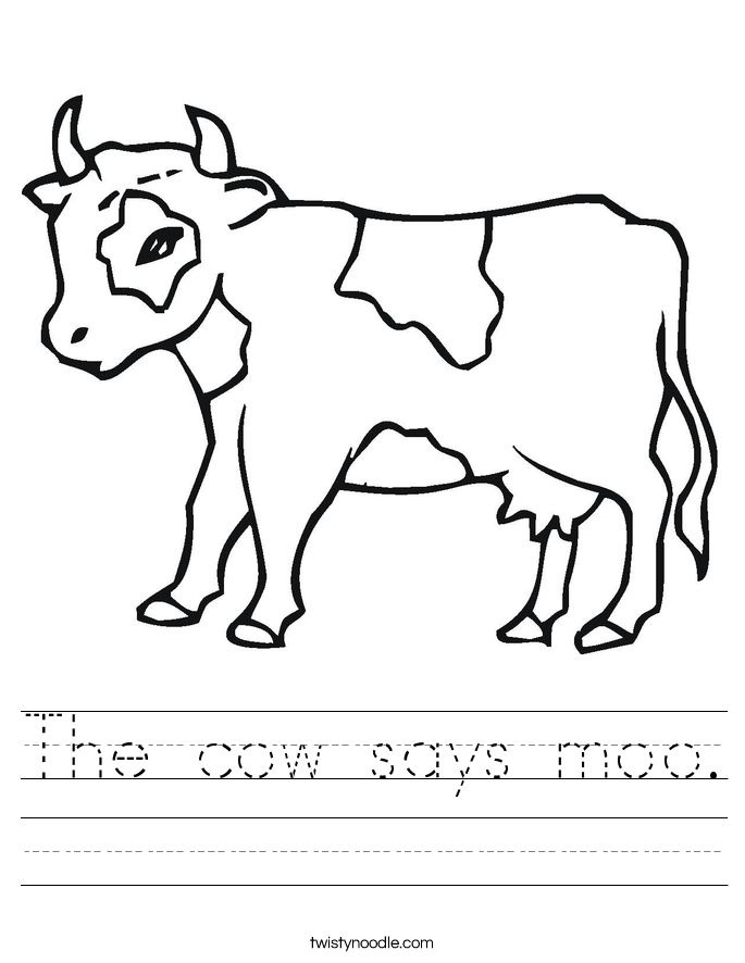 The cow says moo. Worksheet