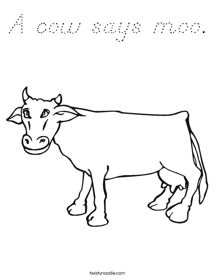 A cow says moo. Coloring Page
