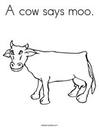 A cow says moo Coloring Page
