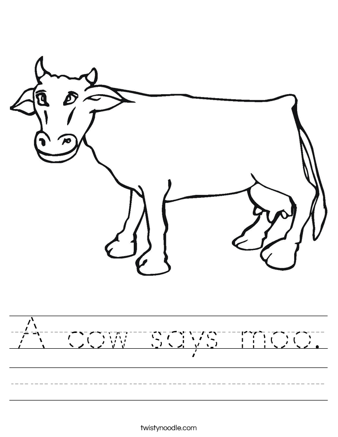 A cow says moo. Worksheet