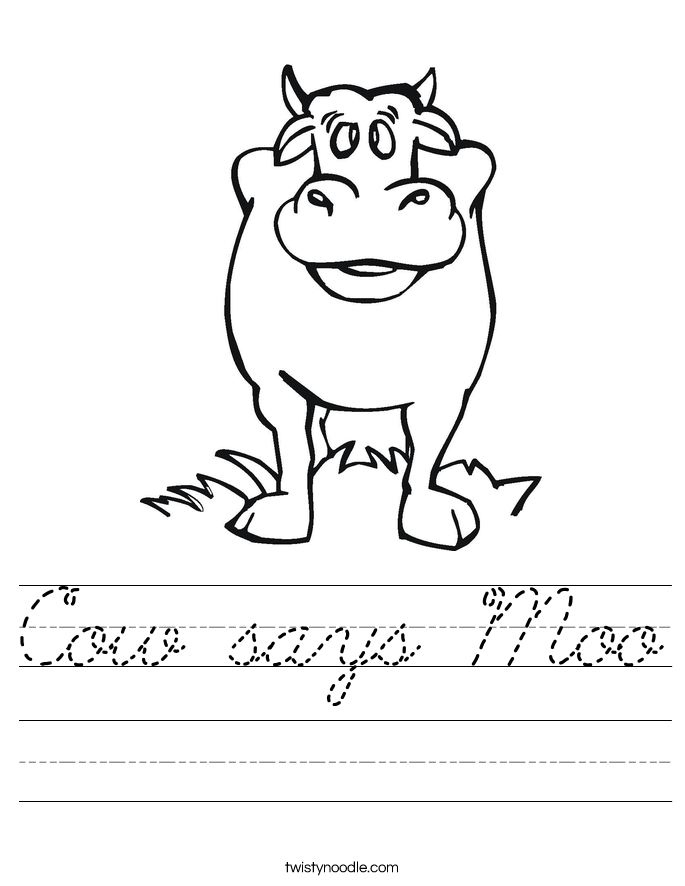 Cow says Moo Worksheet
