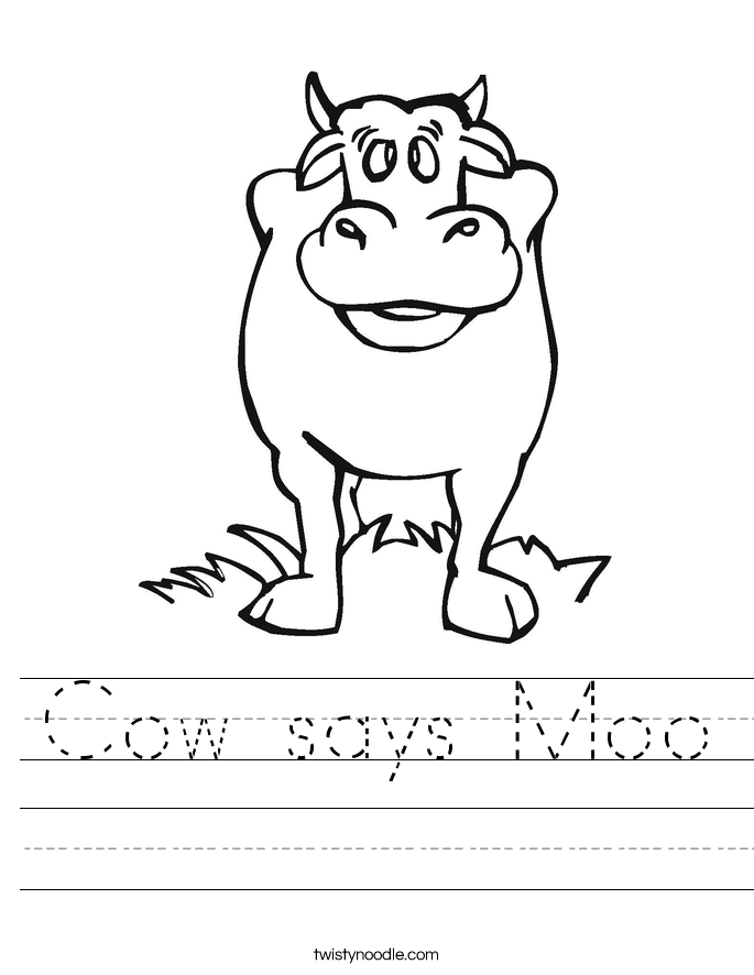 Cow says Moo Worksheet
