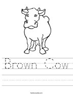 Brown Cow Handwriting Sheet