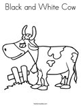 Black and White CowColoring Page