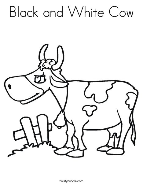 Black And White Cow Coloring Page Twisty Noodle