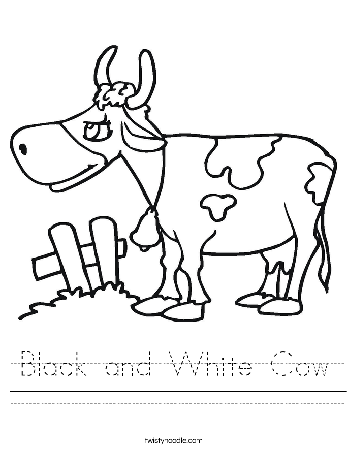 Black and White Cow Worksheet