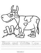 Black and White Cow Handwriting Sheet