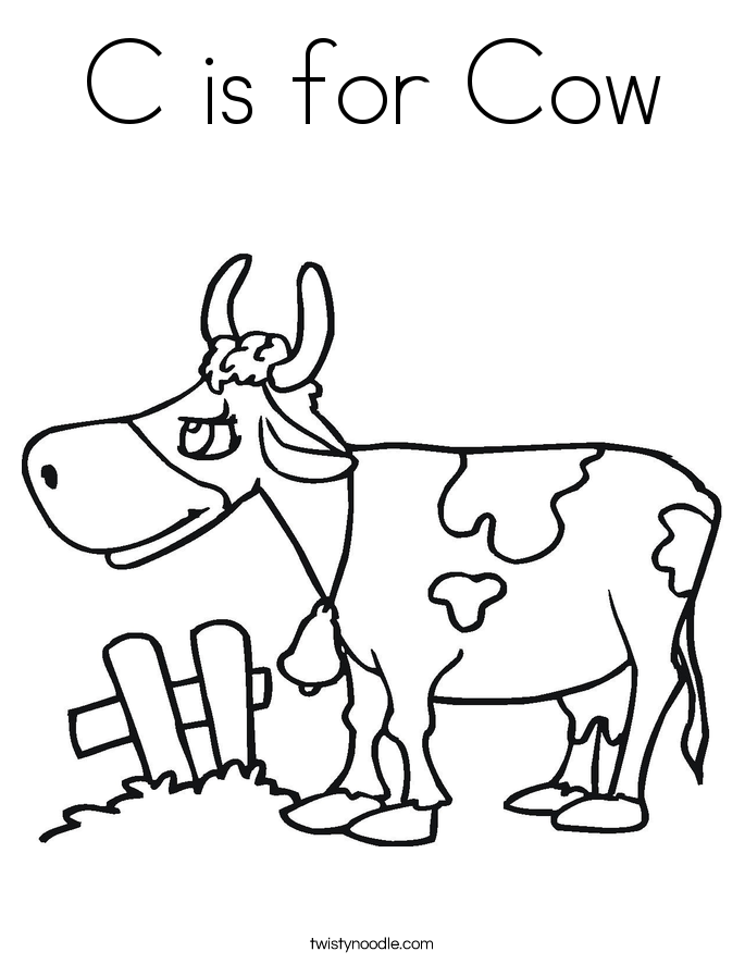 c is for cow coloring pages - photo #4