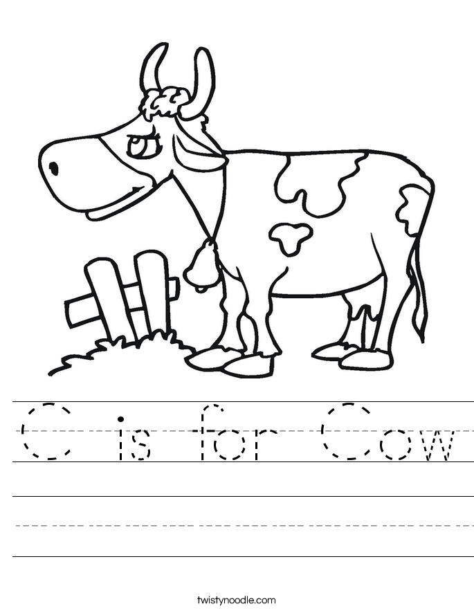 C Is For Cow Worksheet Twisty Noodle