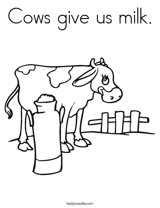 Cows Give Us Milk Coloring Page