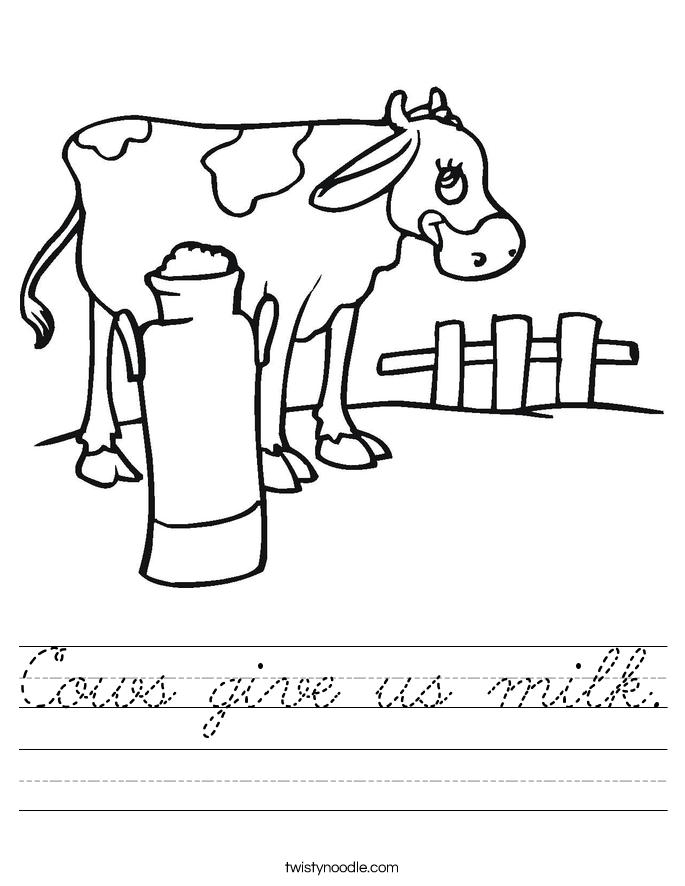 Cows give us milk. Worksheet