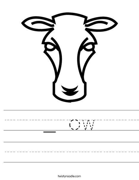 Cow Head Worksheet