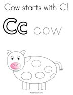 Cow starts with C Coloring Page