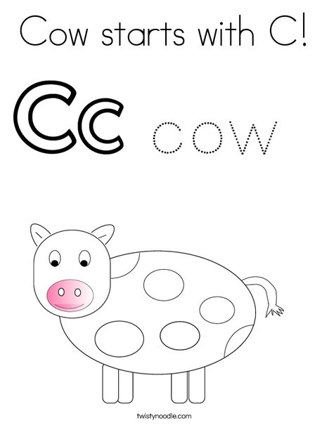 Cow starts with C! Coloring Page