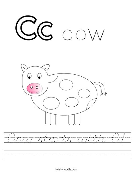 Cow starts with C! Worksheet