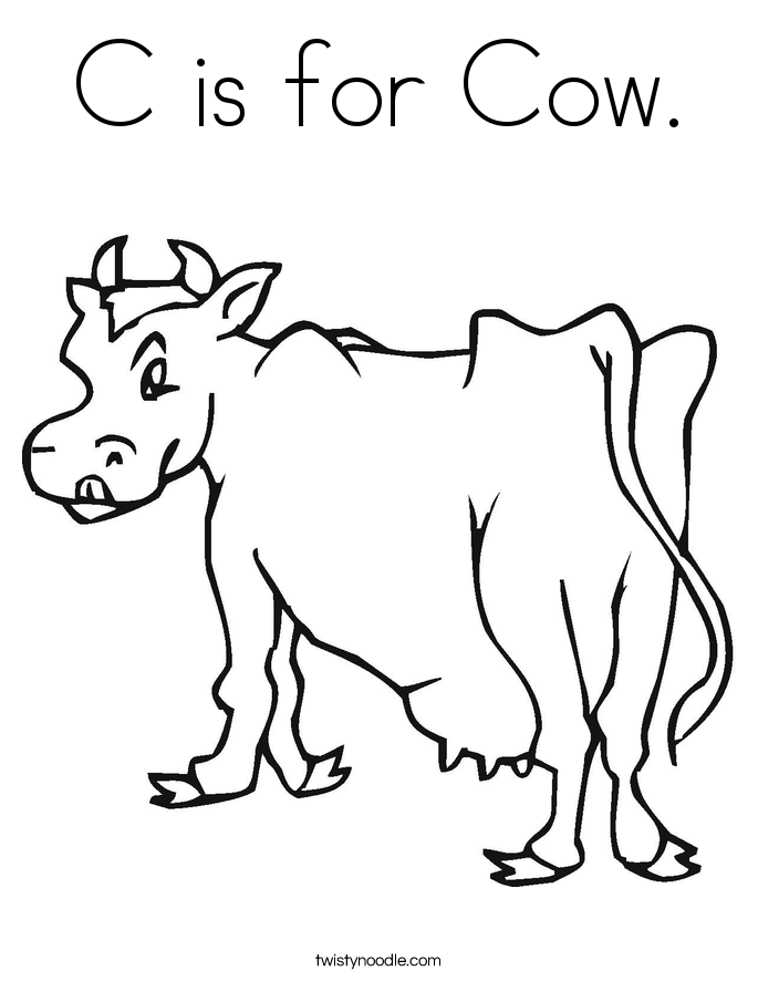 c is for cow coloring page - Cow Coloring Page