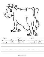 C is for Cow Handwriting Sheet