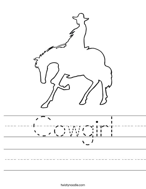 Cowboy on a Horse Worksheet