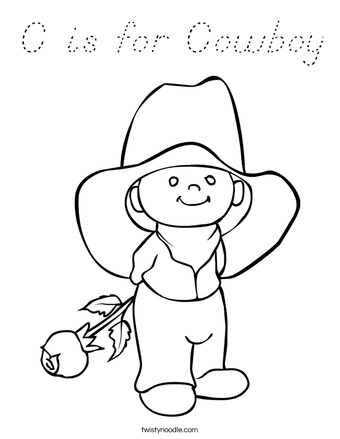 C is for Cowboy Coloring Page
